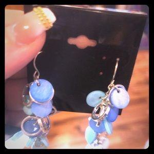 Sky blue sea shell circled dripping earrings